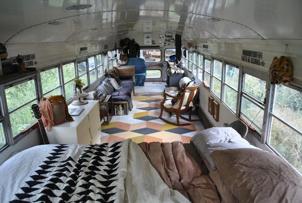 tusk the blue bird school bus conversion