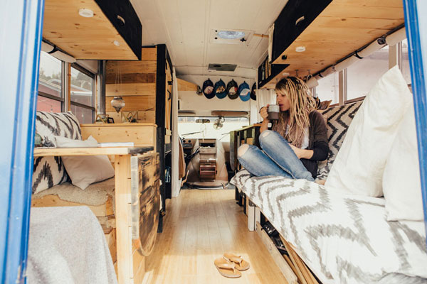 Hippy Chic Short School Bus Conversion By Heidi Michele