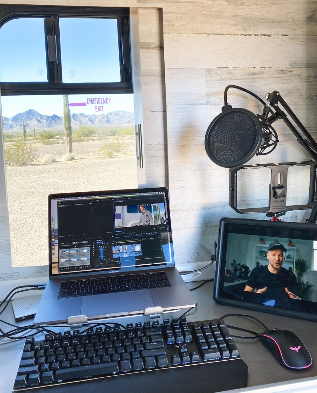 Digital nomad content creator computer setup on the road nomad brad