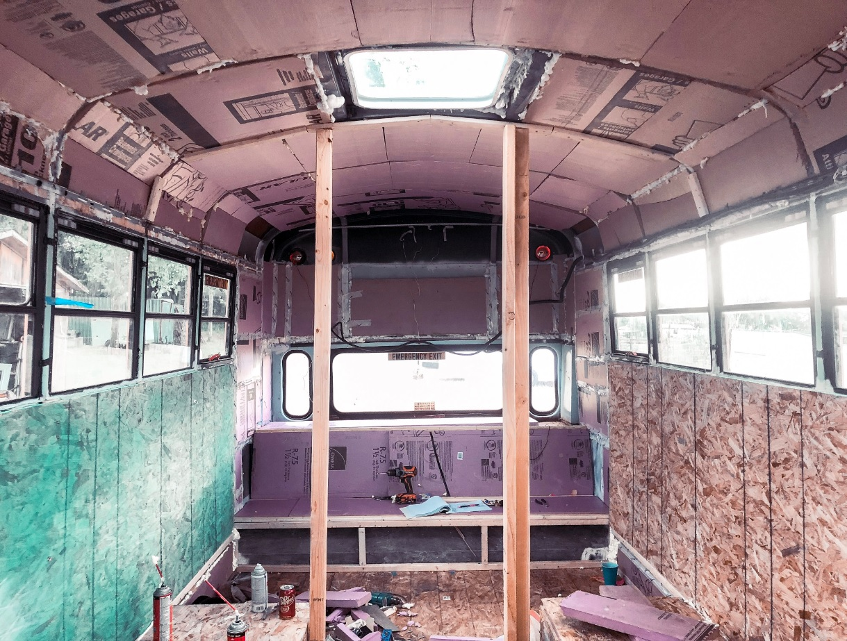 Roof raise bus conversion interior