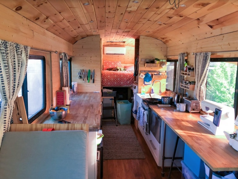 Front to Back Skoolie Bus Conversion Tincan Castle