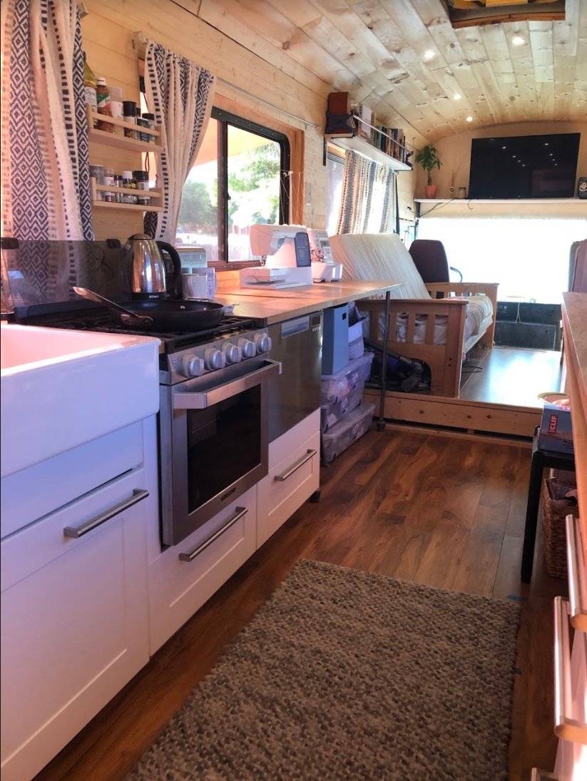Kitchen Skoolie Bus Conversion Tincan Castle