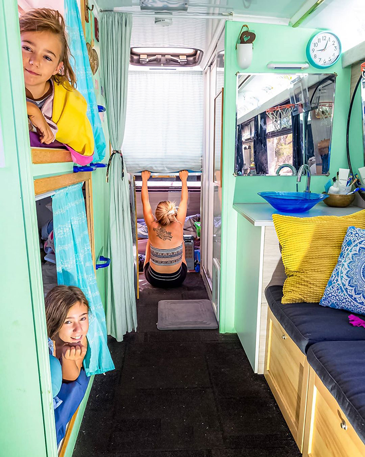 bunk beds skoolie bus conversion adventure home school