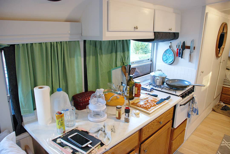 beautiful renovated kitchen skoolie love propane oven