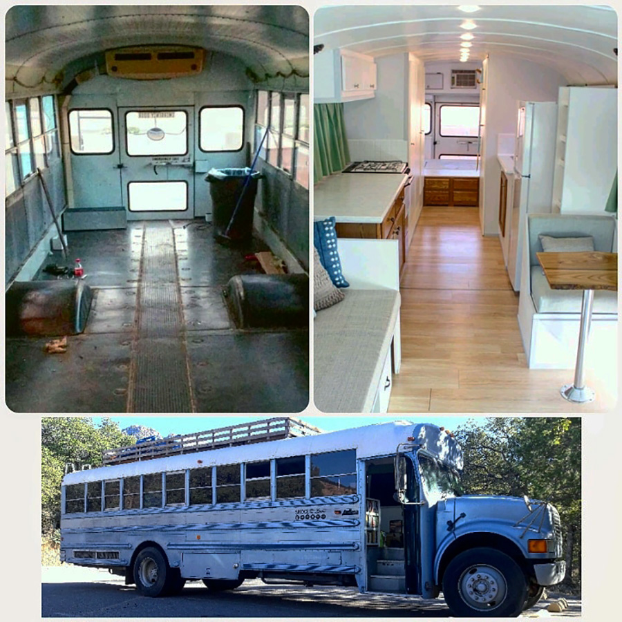 interior exterior before after skoolie love bus