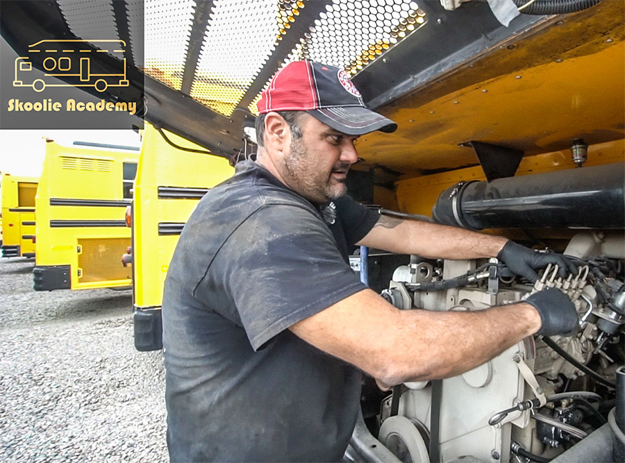 checking purchasing mechanic school bus conversion