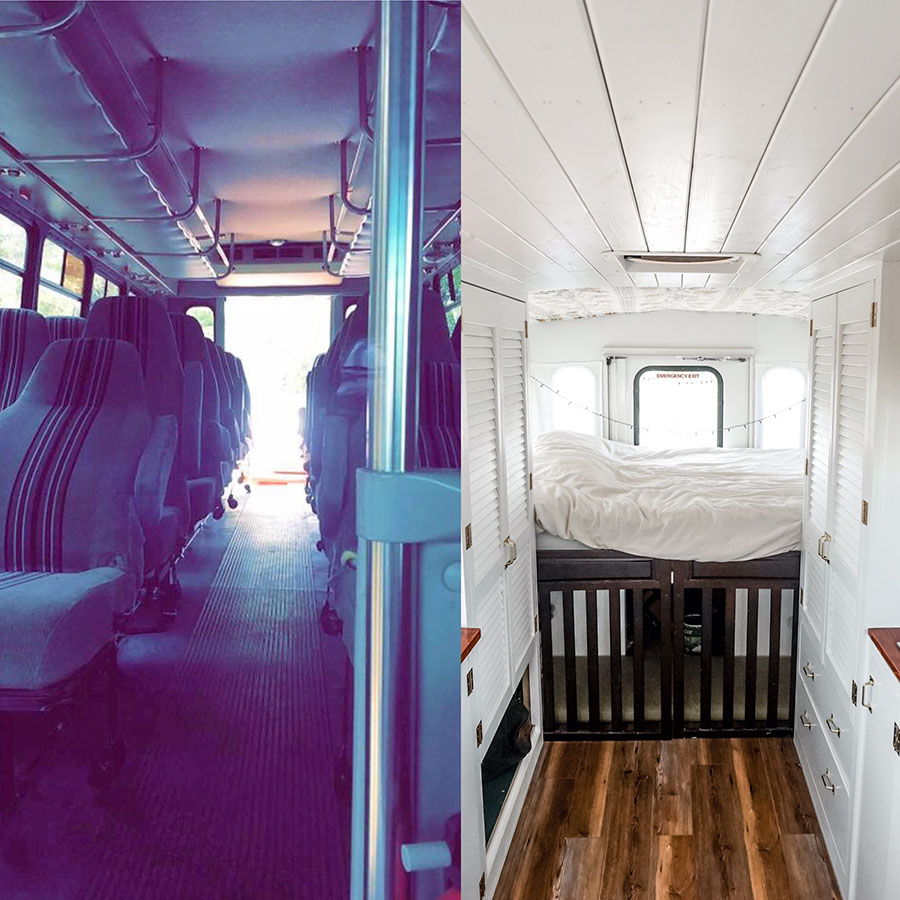before after seats interior shuttle conversion
