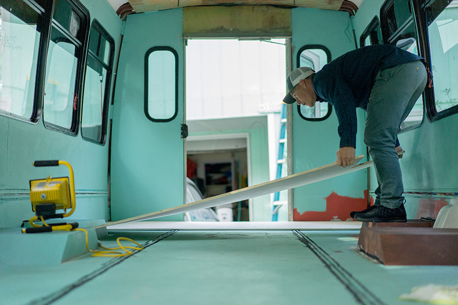 flooring painting interior shuttle conversion