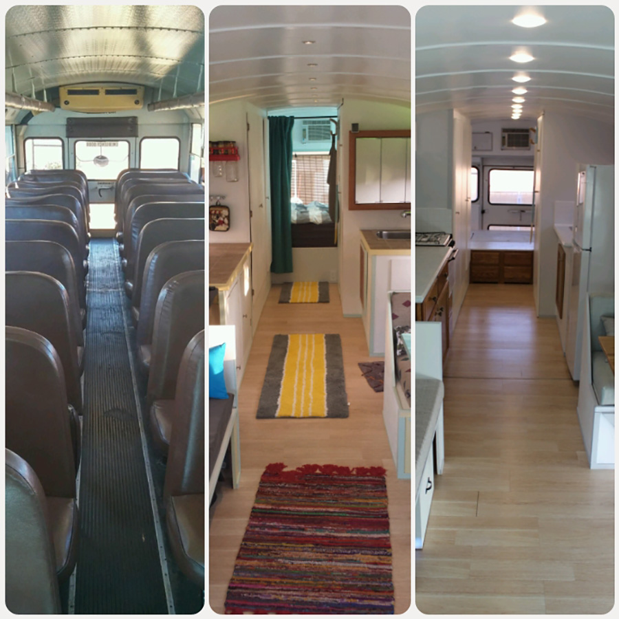 three interiors before after renovation skoolie love bus